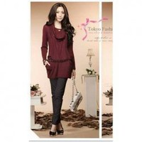 New Arrival Gentle Style Drape Decorated Pullover Knitting Blouse China Wholesale - Sammydress.com