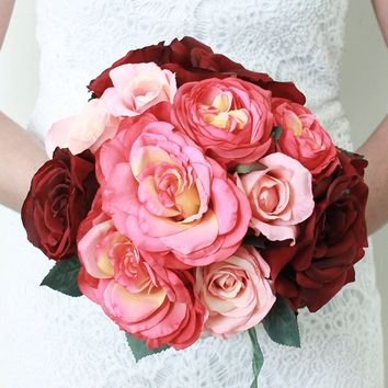 """Rose Silk Bridal Bouquet in Burgundy and Pink12"""" Tall x 12"""" Bouquet Head"""