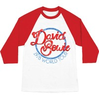 David Bowie Men's  1978 World Tour Baseball Jersey White/Red