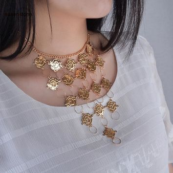 SUSENSTONE 2017 Rose Flower Metal  Boho Beach Bib Coin Necklace Women Tribal Jewelry