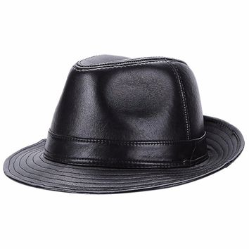 Gemvie English Style Men's Suede & Leather Fedora Hat