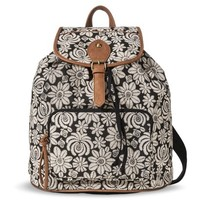 Mossimo Supply Co. Floral Print Backpack Handbag - Black/Ivory