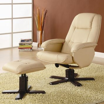 A.M.B. Furniture & Design :: Rockers & Recliners :: Ivory bonded leather match reclining leisure swivel chair and ottoman