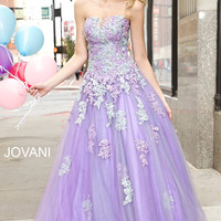 Jovani 24180 Lilac Lace Applique Tulle Ball Gown Prom Dress