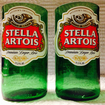 Stella Artois Beer Bottle Tumbler Drinking Glasses. Man Cave. Recycled Glassware.