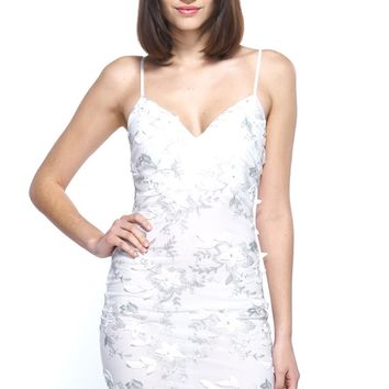 Feeling Pure Sheer Mesh Floral Embroidery Cami Dress