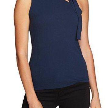 1.State Deep Womens Large Tie-Neck Ribbed Blouse Blue L