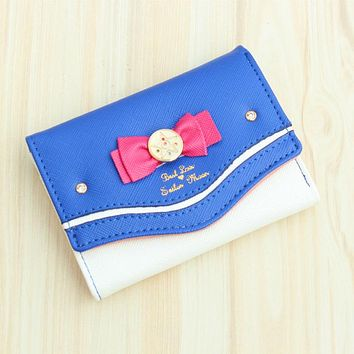 DUDIN Samantha Vega Sailor Moon Wallet Women Lady Short Wallets Female Candy Color Bow Knot PU Leather for Card Purse Clutch Bag
