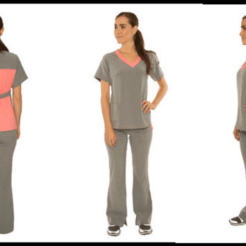 BUNDLE and SAVE! 4 Tops and 4 Bottoms includes Grey/Grey, Pink/Grey, Blue/Grey, Purple/Black Nursing Uniform Medical Scrubs Dental Hygienist
