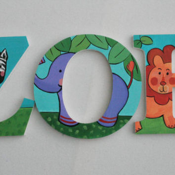 Jungle Animals Wooden Wall Name Letters / Hangings, Hand Painted for Girls or Boys Rooms, Play Rooms and Nursery Rooms