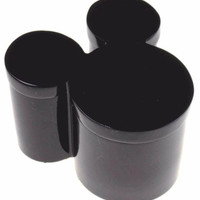Disney Black Mickey Mouse Cotton Storage Jar Box Container Lid Bathroom Dresser