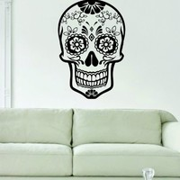 Sugar Skull Version 8 Decal Sticker Wall Vinyl Day of the Dead