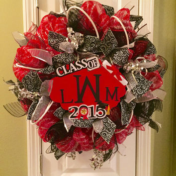 Graduation Party Decoration, Graduation Gift, Monogram Wreath, Deco Mesh Wreath, Class of 2015
