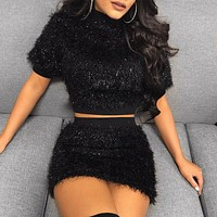 Fashion casual midriff-revealing short-sleeved dress set for women's wear two pieces
