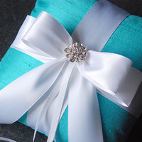 Ring Bearer Pillow - Tiffany Blue Ring Pillow with White Bow and Rhinestones - Helen