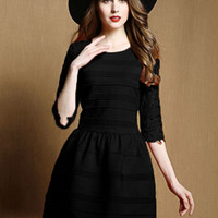 Black Stripe Lace Half Sleeve Pouf Dress