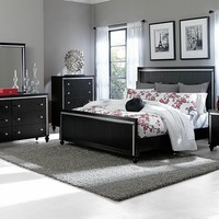 5 pc Sakura collection black finish wood and acrylic crystal accenting bedroom set