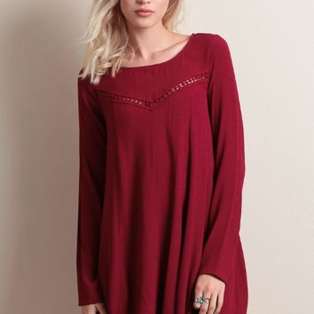 Red Wine Cut Out Back Sleeve Dress