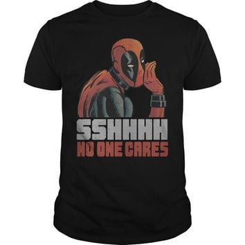 Marvel Deadpool SSHHHH No One Cares Whisper Graphic shirt Premium Fitted Guys Tee