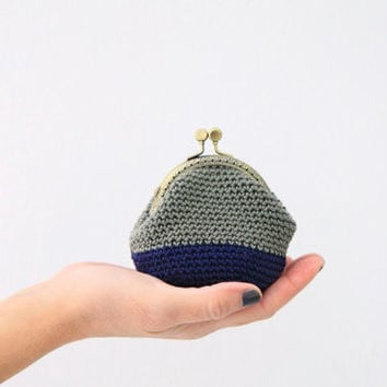 Crochet coin purse, the Sage Keeper, in sage and blue