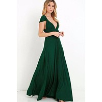 Green Multi way Convertible Wrap Maxi Dress Dresses