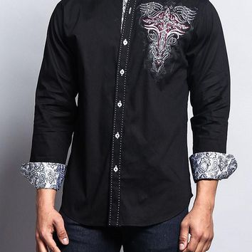 Cross Tribal Tattoo Button Up Shirt SH448 - L1B