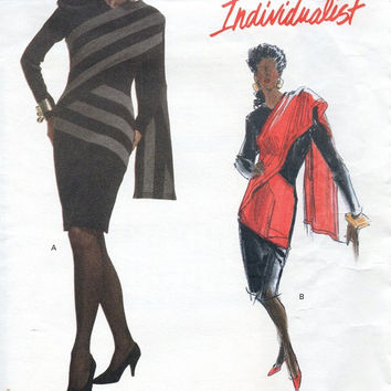 Vogue Individualist 80s Sewing Pattern Patrick Kelly Paris Avant Garde New Wave Close Fitted Dress Shawl Effect Uncut Size 6 8 10