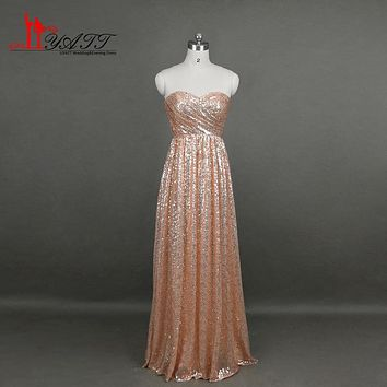 Liyatt Real Picture Rose Gold Bridesmaid Dresses Cheap 2017 Sweetheart Sequin Long Maid of Honor Dresses vestido madrinha LK658