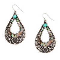 Antique Silver and Abalone Shell Teardrop Outline Drop Earrings