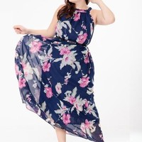 Plus Size Flower Printed Women's Maxi Dress