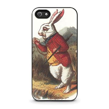 white rabbit alice in wonderland disney iphone 5 5s se case cover  number 1