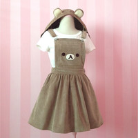 Brown Bear embroidery removable ear hats cute strap dress from Harajuku fashion