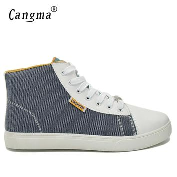 CANGMA Italy Designer Men Sneakers Canvas Shoes Man's Deluxe Multi-colored High Casual Shoes Gray And Red Classic Footwear Male