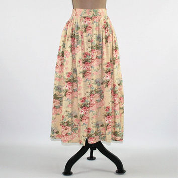 Boho Floral Skirt Women Button Up Skirt Full Skirt with Pockets High Waist Skirt Cotton Skirt Jersey Knit Vintage Clothing Womens Clothing