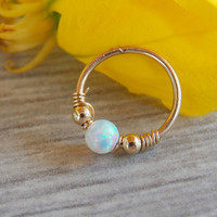 Helix Earring - Septum helix - Opal Septum Rings - Ring - Septum Ring - Septum Piercing - Cartilage Hoop opal helix hoop helix piercing