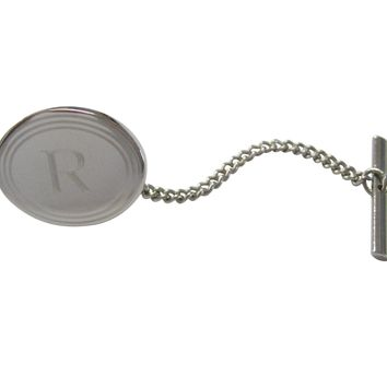 Silver Toned Etched Oval Letter R Monogram Tie Tack