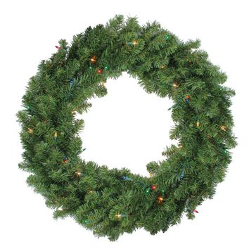 "30"" Pre-Lit Canadian Pine Artificial Christmas Wreath - Multi Lights"