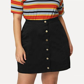 Plus Size Plain High Waist Workwear Skirt Office Ladies Button Up Denim Stretchy Women Elegant Skirts