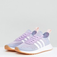 adidas Originals FLB Primeknit Trainer In Lilac at asos.com