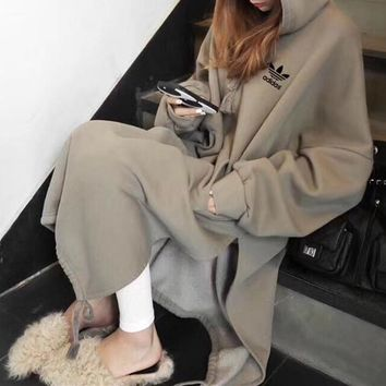 """Adidas"" Women Simple Personality Split Solid Color Loose Long Sleeve Hooded Sweater Dress"