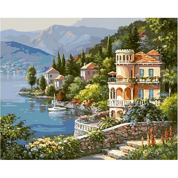 2016 Home Decor Frameless Pictures Painting New Canvas Landscape lakeside town  By Numbers Digital Oil Painting