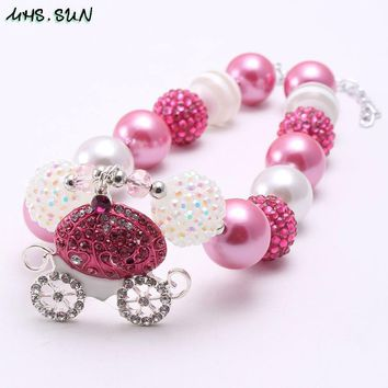 MHS.SUN Kids chunky beads necklace Halloween girls pumpkin pendants white/hot pink acrylic beads bubblegum necklace 1pcs