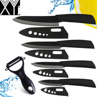 XYJ ceramic knife set 3 4 5 6 inch knife colorful ABS handle kitchen knives with zirconia sheath cooking knives + peleer