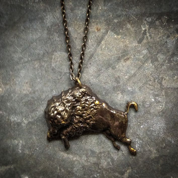 Buffalo Bison with Brown Patina Necklace
