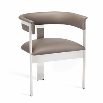 Darcy Dining Chair in Grey/ Nickel