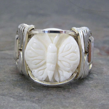 Carved Bone Bali Round Butterfly Sterling Silver Wire Wrapped Ring ANY size