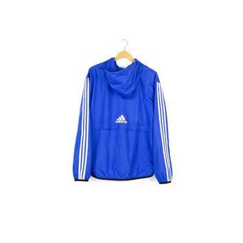 ADIDAS pullover windbreaker jacket / early 00's / storm fit / hood / logo / blue & whi