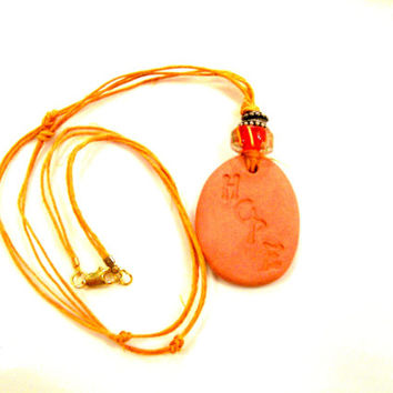 """Personal Essential Oil Clay Diffuser Necklace Natural Clay Pendant with Colorful Bead embossed with """"HOPE"""" Children Teen Aromatherapy"""