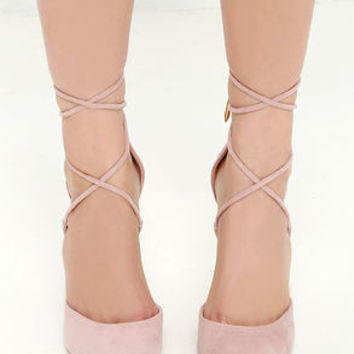 LULUS Michele Dusty Rose Lace-Up Heels