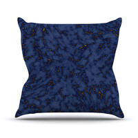 """Will Wild """"Blue & Gold Marble"""" Navy Abstract Throw Pillow"""